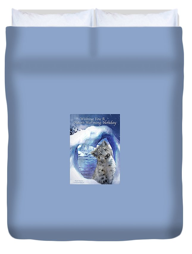 Christmas Card Duvet Cover featuring the mixed media Heart Warmer Card by Carol Cavalaris
