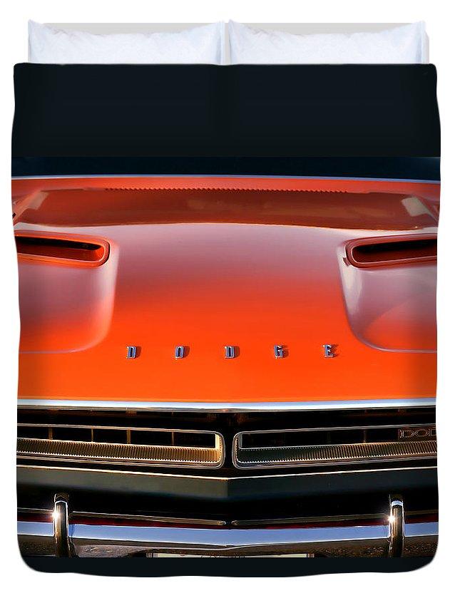 1971 Duvet Cover featuring the photograph Hemi Orange 1971 Dodge Challenger by Gordon Dean II