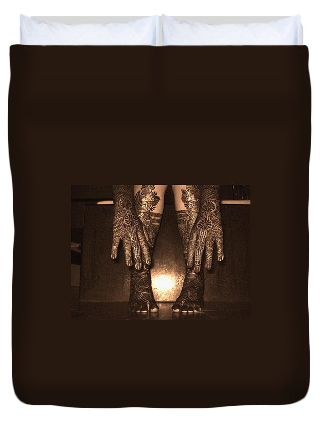 Indian Duvet Cover featuring the photograph Henna Art On An Indian Bride by Sumit Mehndiratta