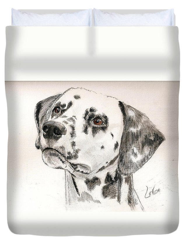 Dog/dalmation Duvet Cover featuring the painting Hercie by Janet Lavida