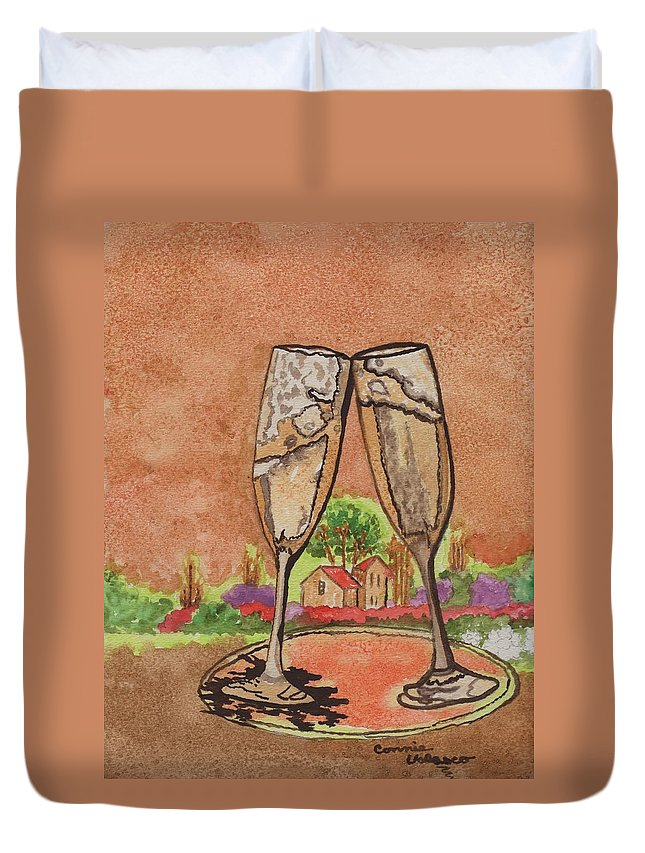 Kitchen Art Duvet Cover featuring the painting Heres To Ya No8 by Connie Valasco