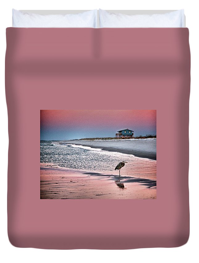 Alabama Photographer Duvet Cover featuring the digital art Heron And Beach House by Michael Thomas