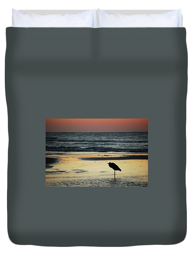 Alabama Photographer Duvet Cover featuring the digital art Heron Waiting For The Sunrise by Michael Thomas