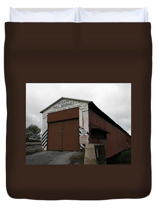 Wood Bridge Duvet Cover featuring the photograph Herrs Mill Bridge by Tila Gun