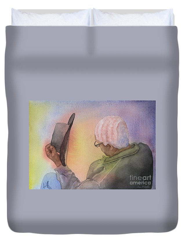 Man Duvet Cover featuring the painting Hiawatha's Hair by Sari Sauls