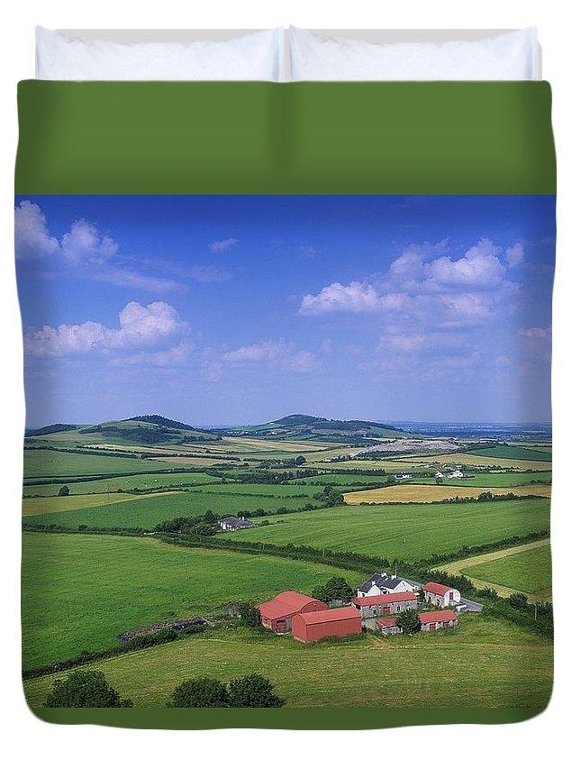 Architecture Duvet Cover featuring the photograph High Angle View Of Fields, Stradbally by The Irish Image Collection