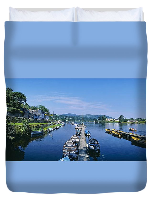 Boat Duvet Cover featuring the photograph High Angle View Of Rowboats In The by The Irish Image Collection