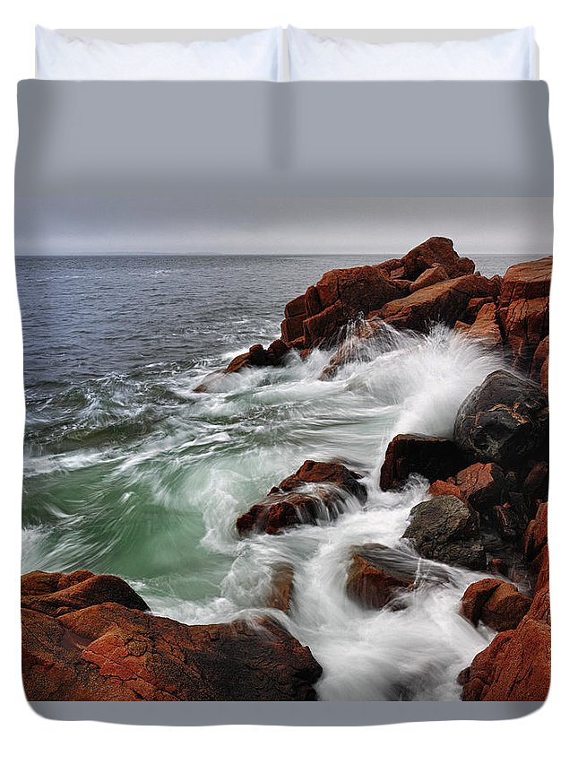 Tide Duvet Cover featuring the photograph High Tide At Bass Harbor Head by Rick Berk