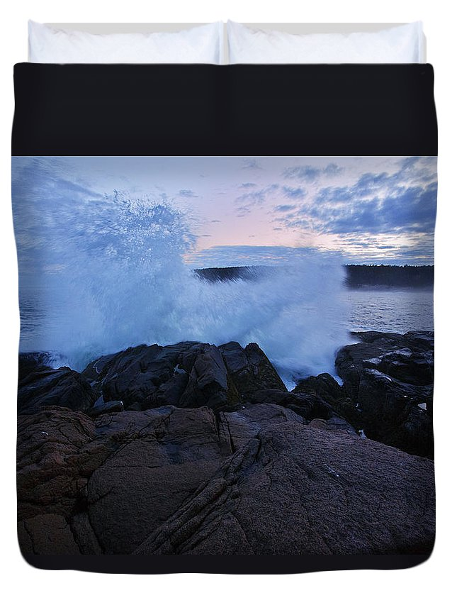 Maine Duvet Cover featuring the photograph High Tide At Dusk by Rick Berk