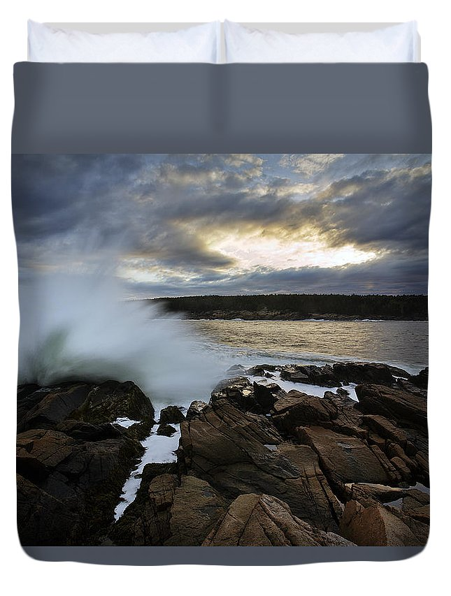 Maine Duvet Cover featuring the photograph High Tide At Otter Point by Rick Berk