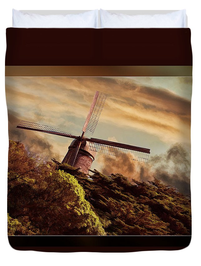 Art Photography Duvet Cover featuring the photograph Hillside Windmill by Blake Richards