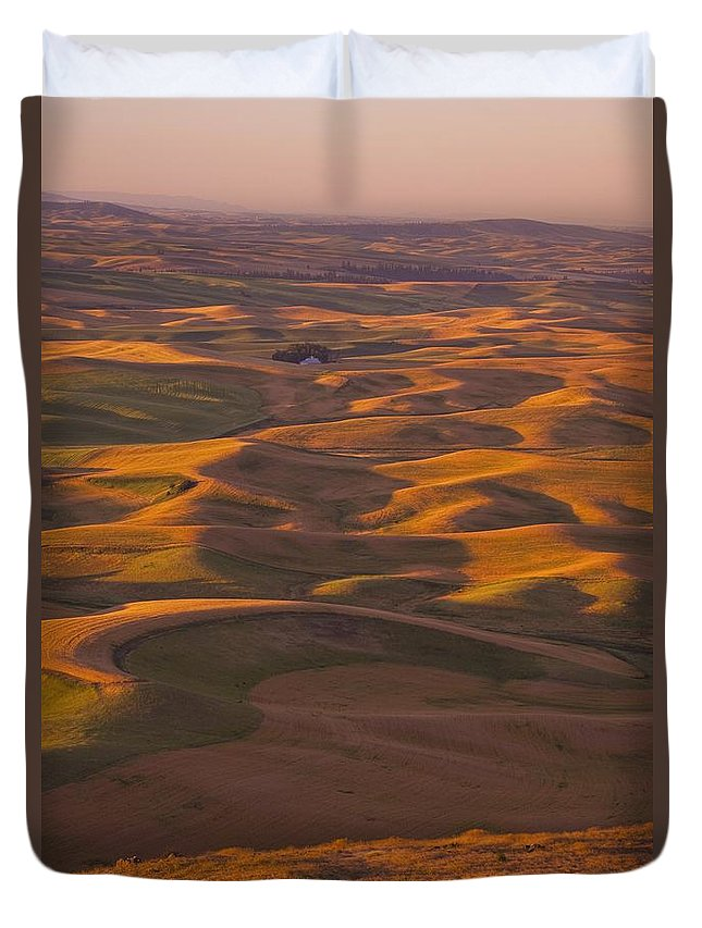 Sunset Duvet Cover featuring the photograph Hilly Landscape by Craig Tuttle