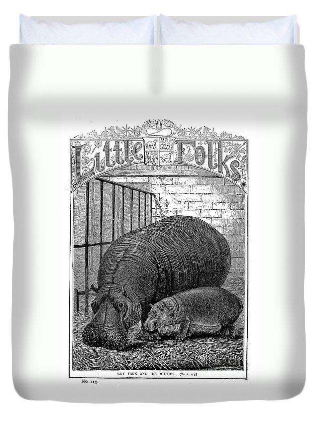 1870s Duvet Cover featuring the photograph Hippopotamus by Granger