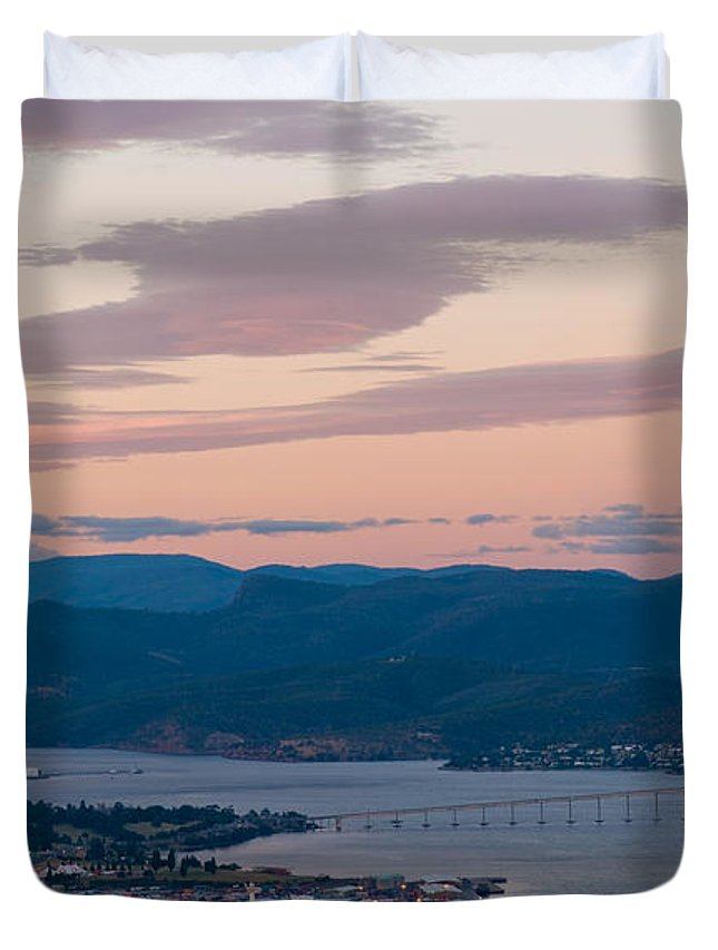 Australia Duvet Cover featuring the photograph Hobart Harbour During Sunset by U Schade