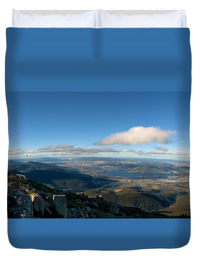 Aerial Duvet Cover featuring the photograph Hobart Tasmania Mount Wellington by U Schade