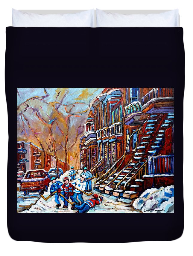 Montreal Duvet Cover featuring the painting Hockey Art Montreal Streets by Carole Spandau