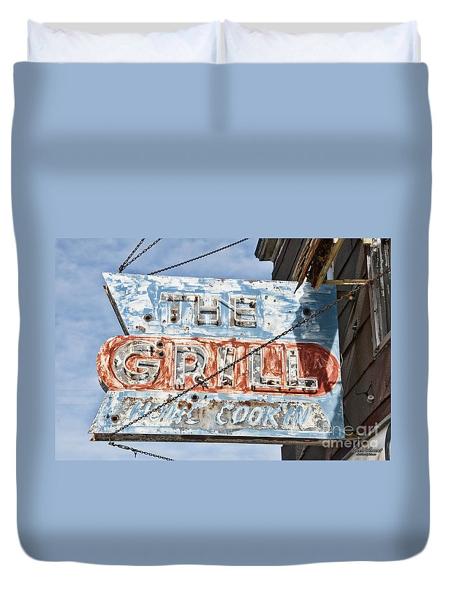 Sign Duvet Cover featuring the photograph Home Cookin by David Arment