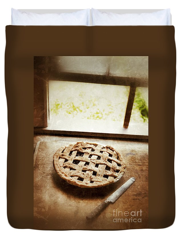 Pie Duvet Cover featuring the photograph Home Made Pie Cooling By Open Window by Jill Battaglia