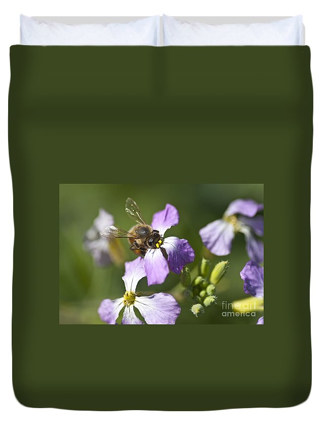 Honey Bee Duvet Cover featuring the photograph Honey Bee by Jim And Emily Bush
