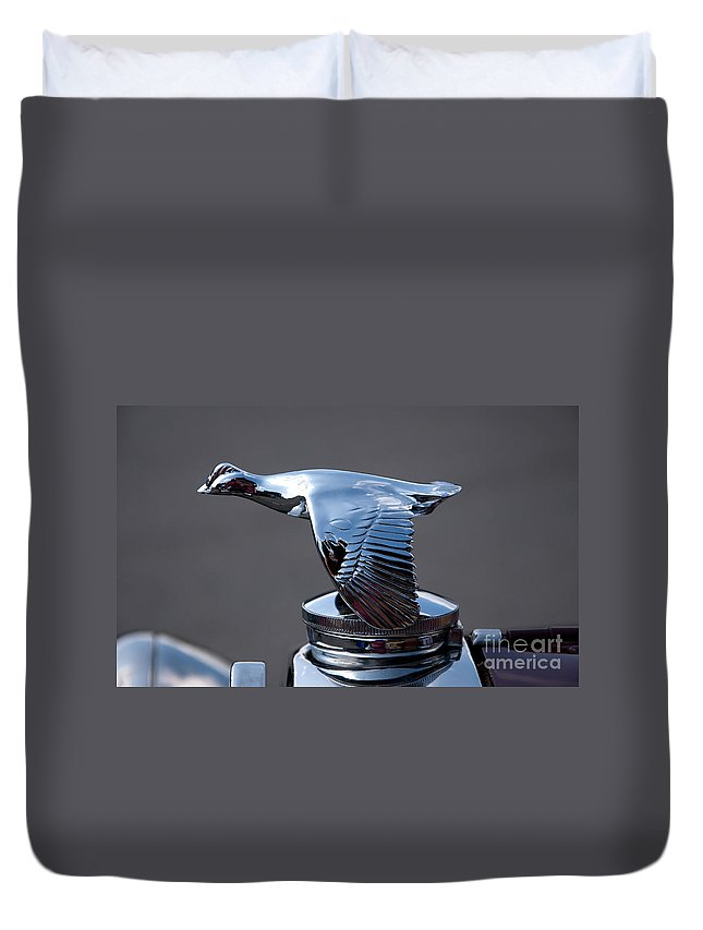 Car Duvet Cover featuring the photograph Hood Ornament by Vivian Christopher