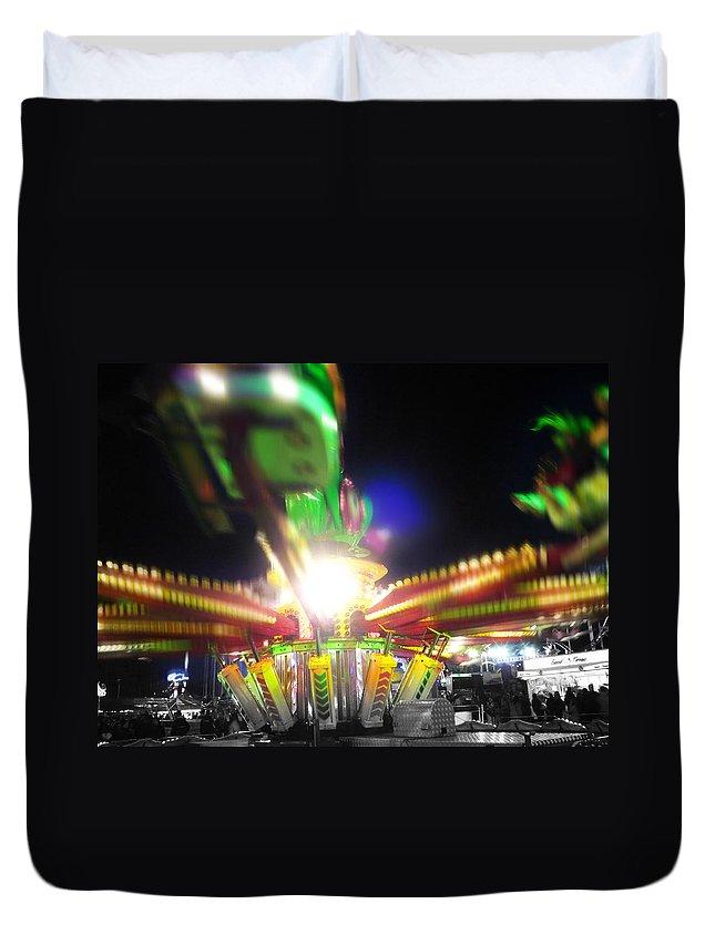 Fairground Ride In Motion Duvet Cover featuring the digital art Hoppity Hop by Charles Stuart
