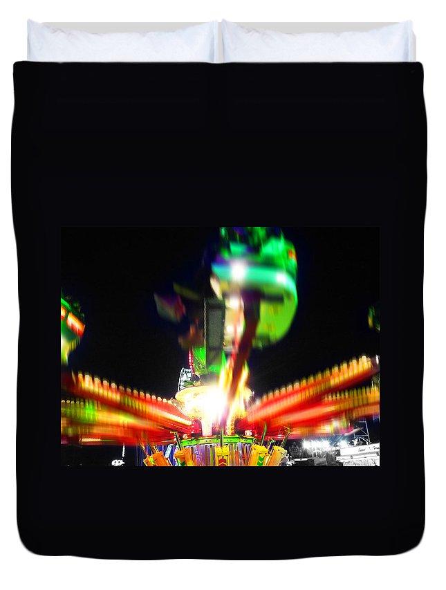 Fairground Ride At Night Duvet Cover featuring the digital art Hoppity Hop Hop Hop by Charles Stuart
