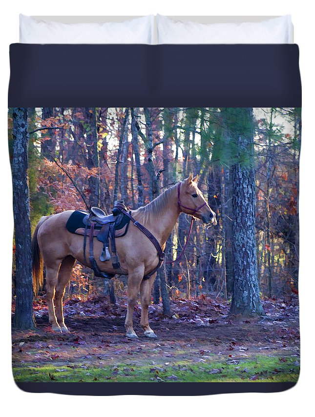 Horse Duvet Cover featuring the photograph Horse Waiting For Rider by Kathy Clark