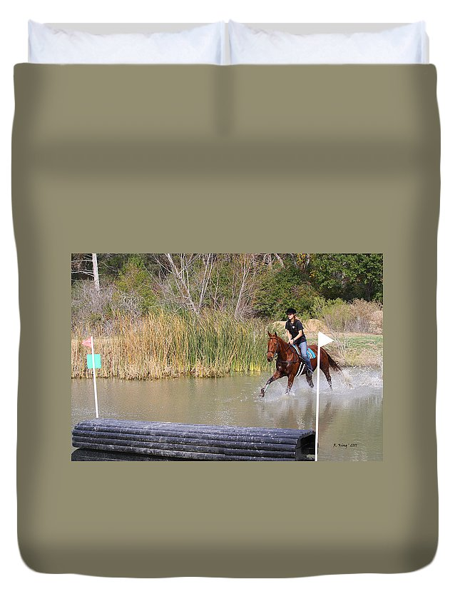 Roena King Duvet Cover featuring the photograph Horses Dont Like Water by Roena King