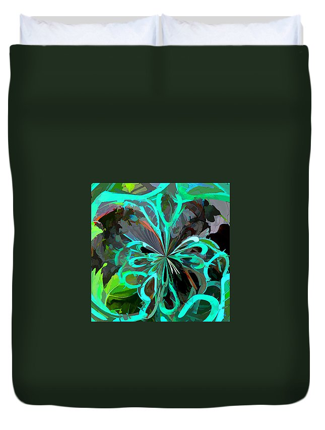 Digital Duvet Cover featuring the digital art Horseshoes Swirled by Diane Wood