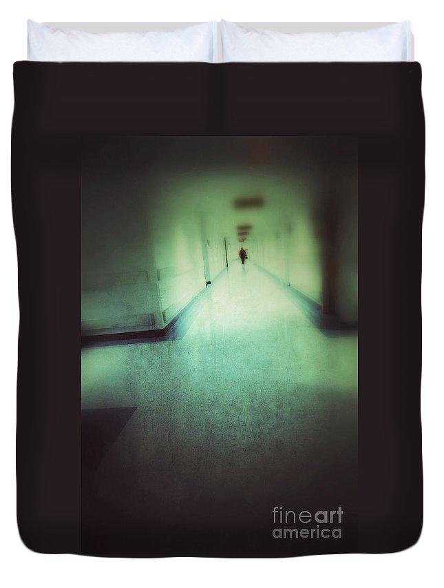 Hospital Duvet Cover featuring the photograph Hospital Hallway by Jill Battaglia