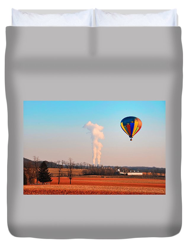 Hot Air Duvet Cover featuring the photograph Hot Air Balloon Near Limerick Pa by Bill Cannon