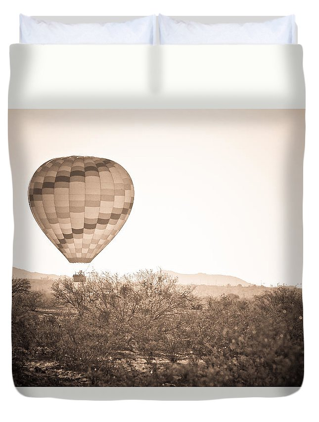 Arizona Duvet Cover featuring the photograph Hot Air Balloon On The Arizona Sonoran Desert In Bw by James BO Insogna