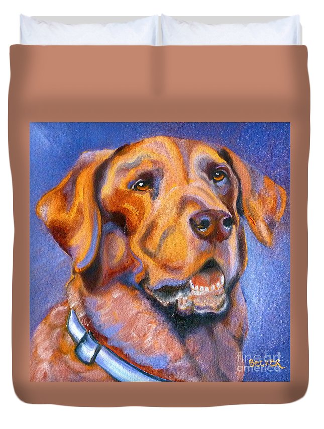 Lab Duvet Cover featuring the painting Hot Chocolate Lab by Susan A Becker