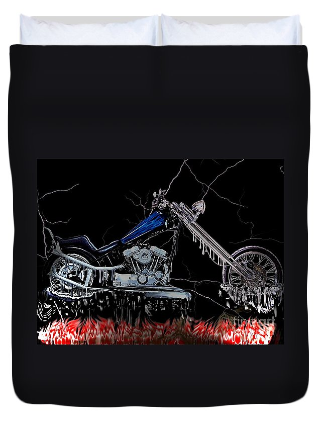 Chopper Duvet Cover featuring the digital art Hot Chopper by Tommy Anderson