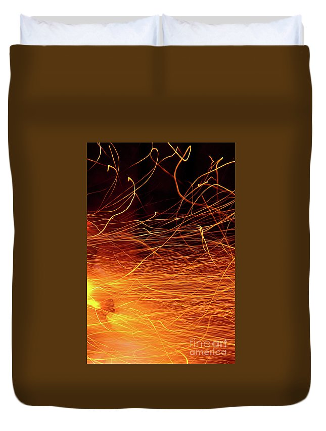 Ablaze Duvet Cover featuring the photograph Hot Sparks by Carlos Caetano