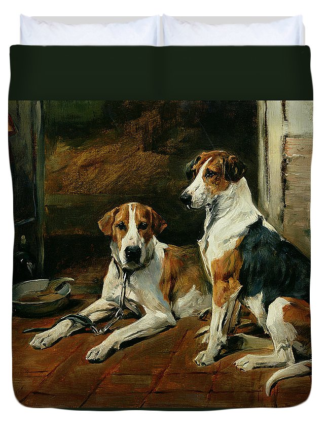 Hounds In A Stable Interior Duvet Cover featuring the painting Hounds In A Stable Interior by John Emms
