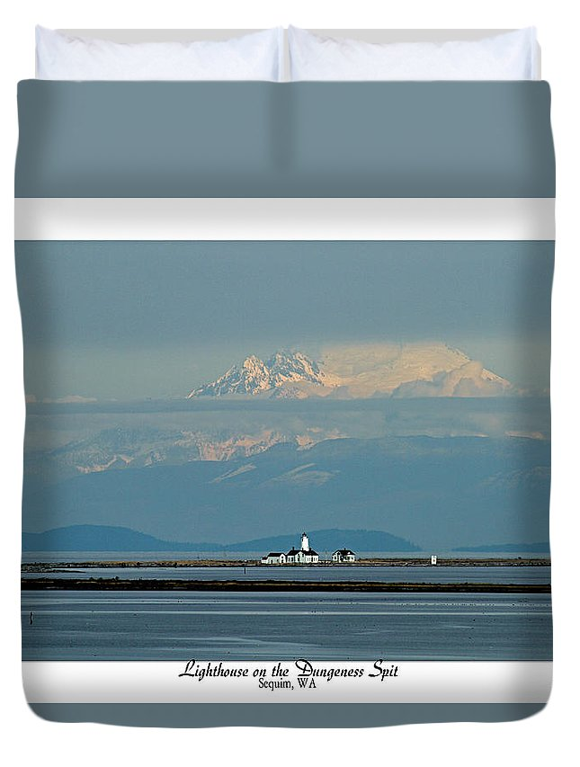 Lighthouse Duvet Cover featuring the photograph Dungeness Spit Lighthouse - Mt. Baker - Washington by Marie Jamieson