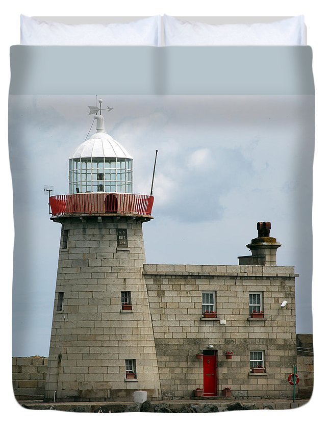 Howth Lighthouse Duvet Cover featuring the photograph Howth Lighthouse 0001 by Carol Ann Thomas