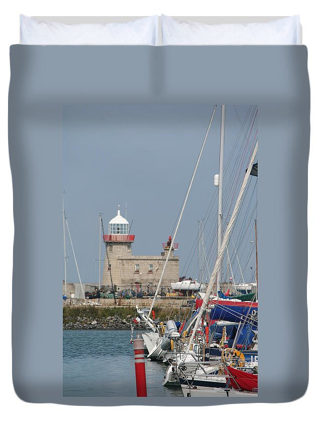 Howth Ireland Duvet Cover featuring the photograph Howth Lighthouse 0004 by Carol Ann Thomas