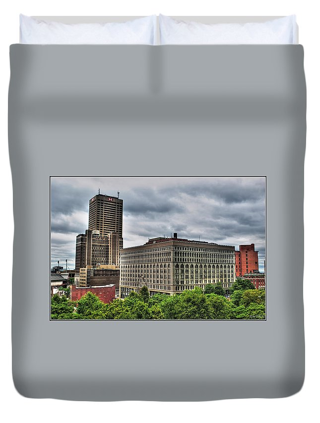 Duvet Cover featuring the photograph Hsbc Tower  Ellicott Square Buliding by Michael Frank Jr