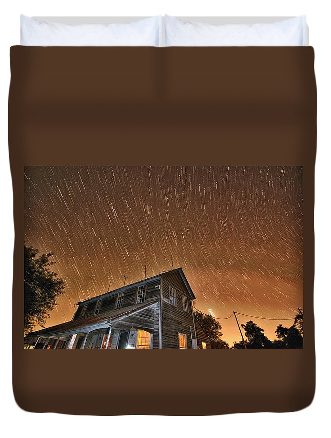 Star Trail Duvet Cover featuring the photograph Hundred Years Of Solitude Ellinger Texas by Silvio Ligutti