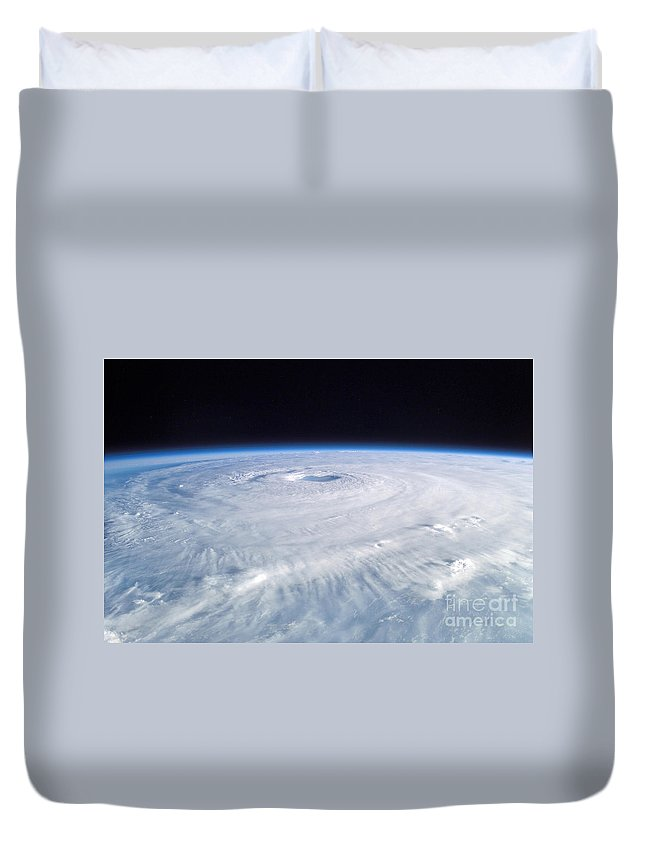 Color Image Duvet Cover featuring the photograph Hurricane Isabel by Stocktrek Images