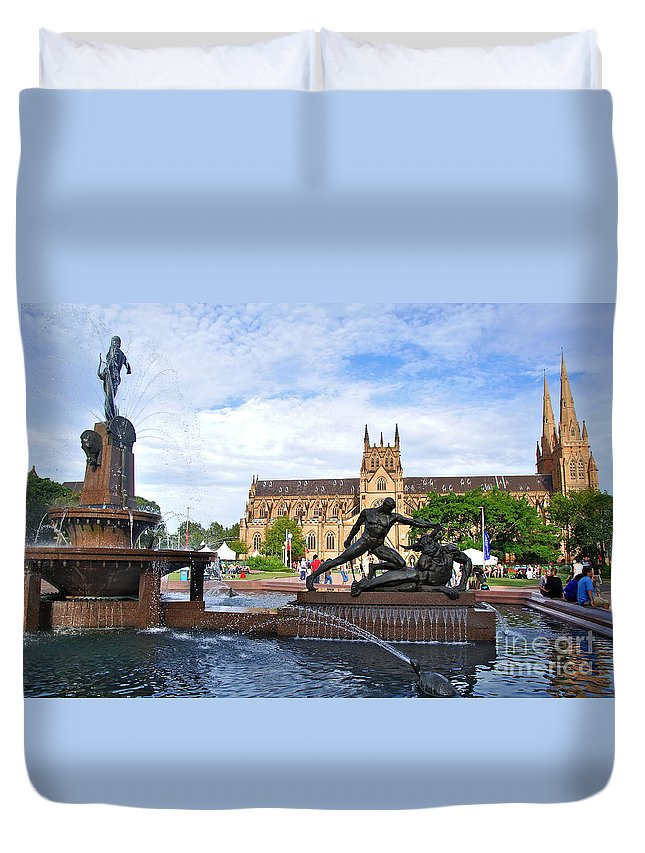 Photography Duvet Cover featuring the photograph Hyde Park Fountain And St. Mary's Cathedral by Kaye Menner