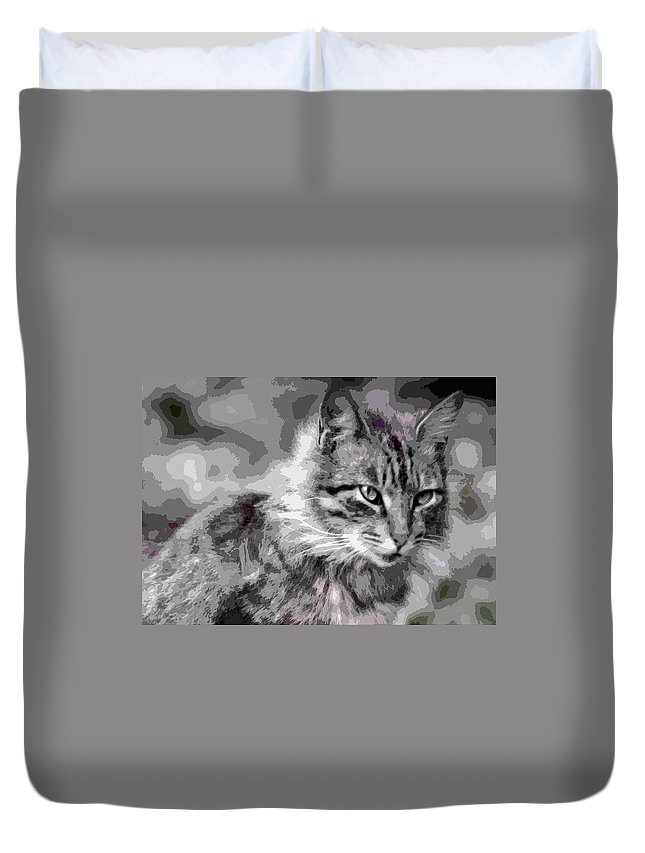 Duvet Cover featuring the photograph I Am Serious by Burney Lieberman
