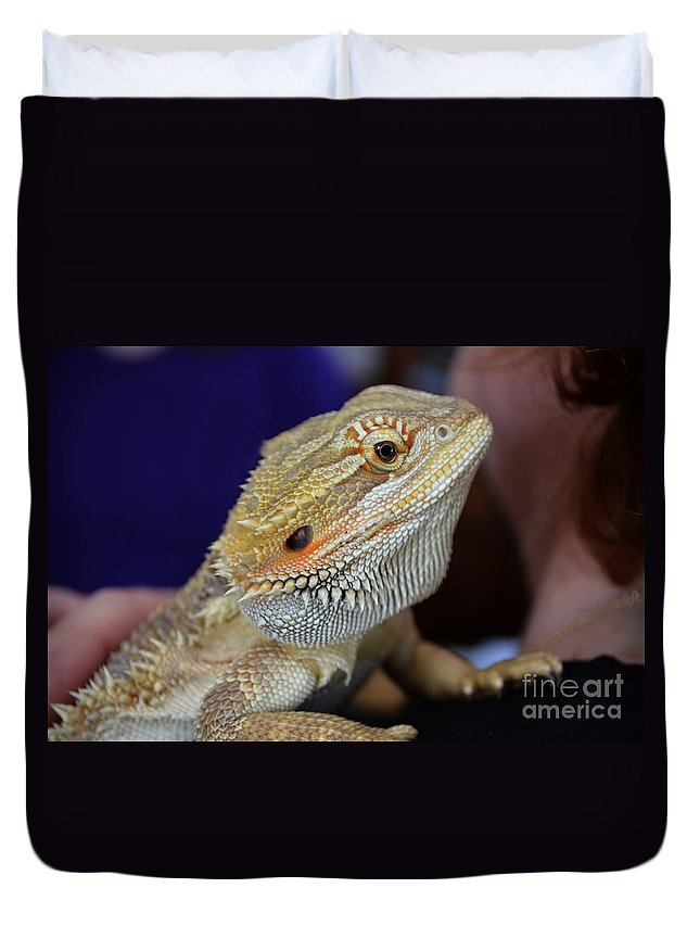 Digital Duvet Cover featuring the photograph I Don't Bite Honest by Richard Ortolano