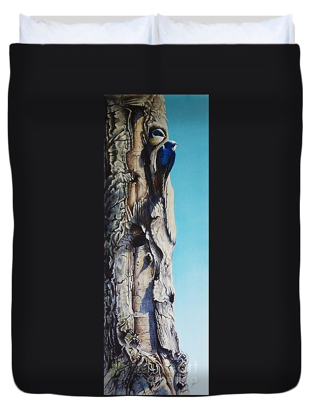 Swallow Duvet Cover featuring the painting I Love A Penthouse View by Greg and Linda Halom