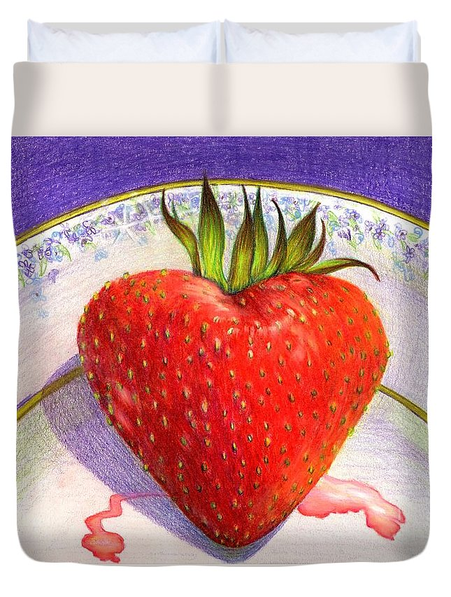 Strawberry Duvet Cover featuring the painting I Love You Berry Much by Nancy Cupp