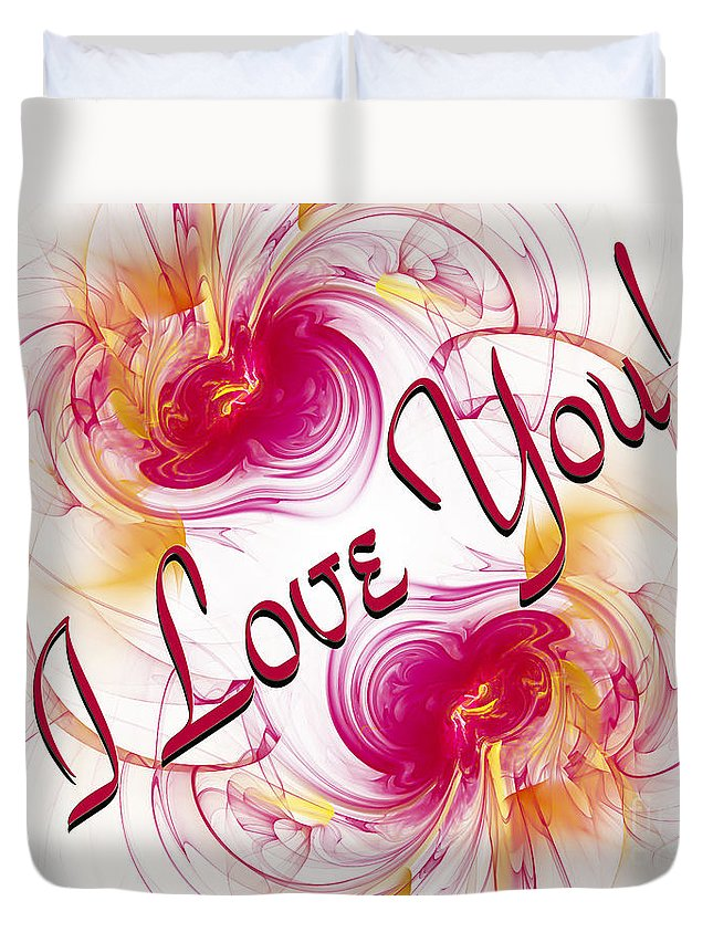 Fine Art Greeting Card Duvet Cover featuring the digital art I Love You Card 1 by Andee Design