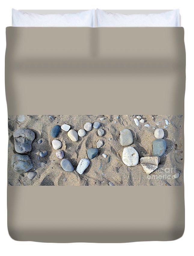 Pebble Art Duvet Cover featuring the photograph I Loveu Pebbles by Dyana Rzentkowski