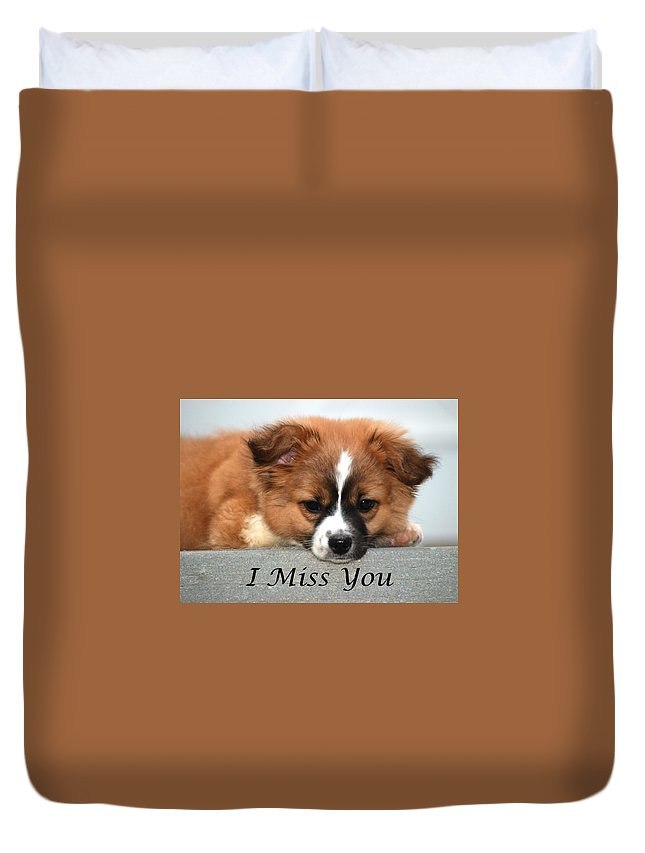 Greeting Card Duvet Cover featuring the photograph I Miss You Card by Michael Peychich